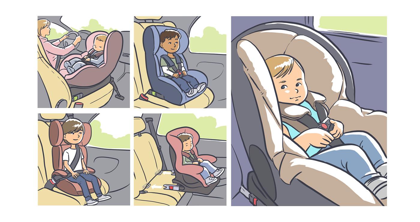 Aurelien Boudault story illustration rough board animation paper art enfant voiture securite routiere bebe lun et lautre