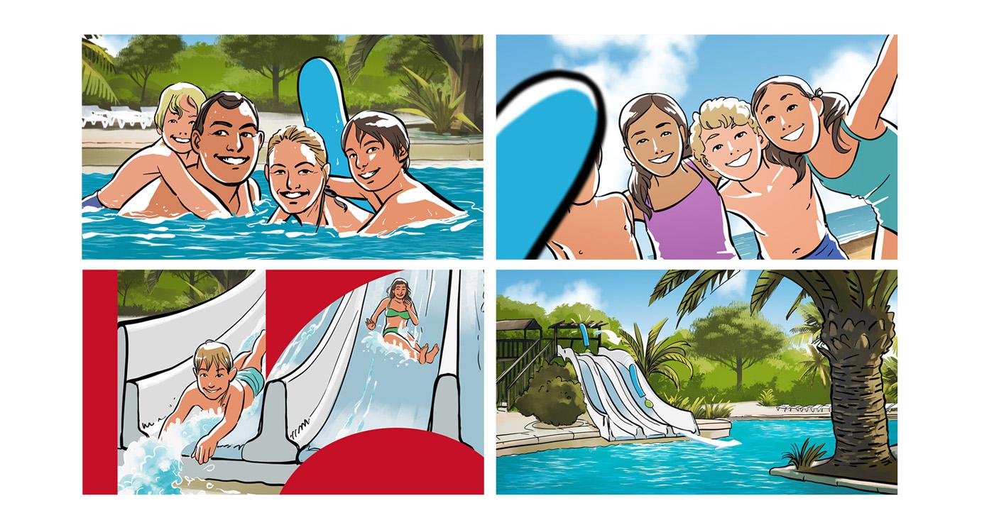 Aurelien Boudault story illustration rough board animation paper art piscine plage ado famille enfant toboggan lun et lautre