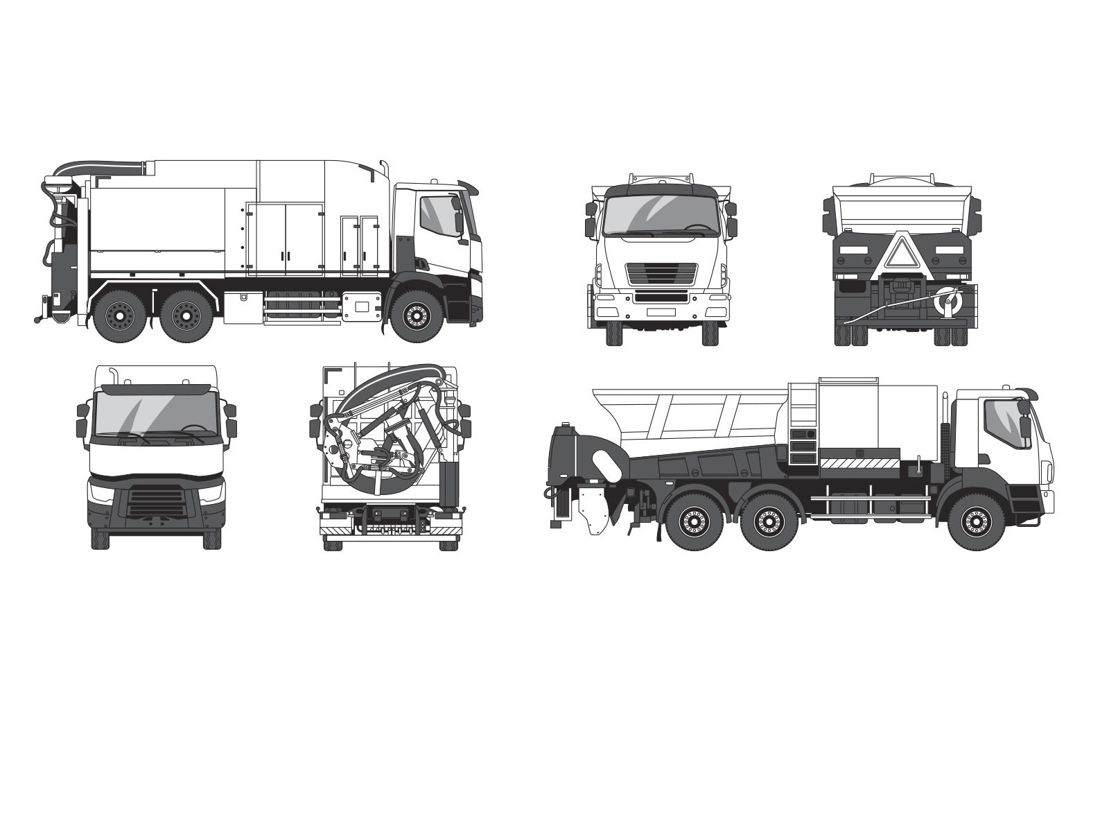 Aurelien-boudault-Vehicule-trait-camion-repandeuse-escavatrice