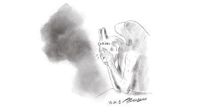 notre dame incendie dessin de presse - illustration