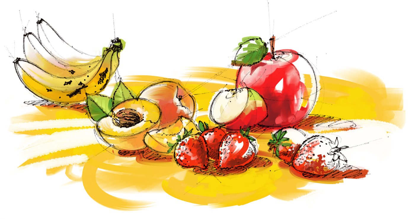 illustration alimentaire yves perron fruits 04