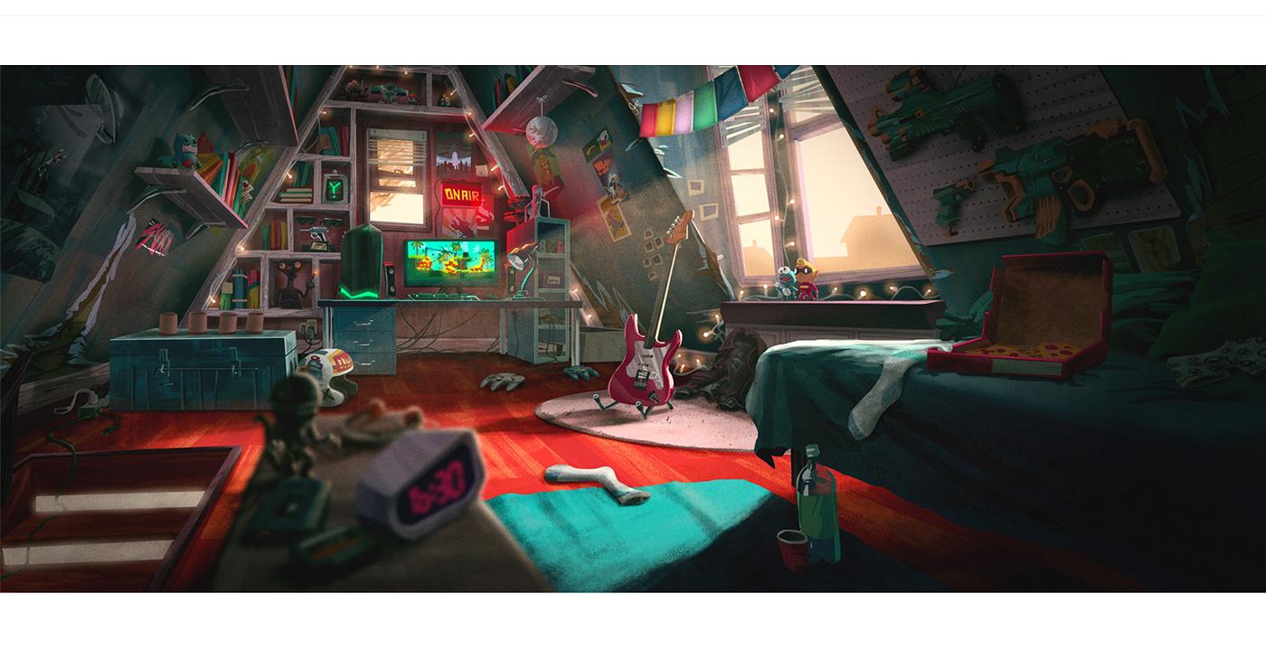 illustration benoit tastet chambre cartoon