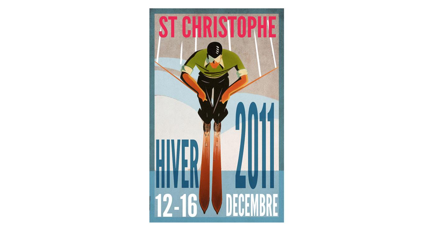 illustration fred van deelen poster ski 03