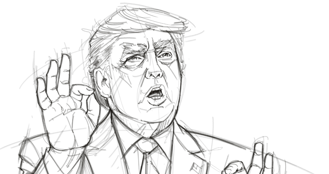 illustration portraits caricatures yves perron donald trump 04
