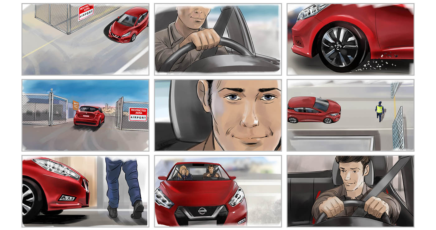 illustration-rough-story-board-animation-evenementiel-lun-et-lautre-nicolas-gregoire-Nissan-Micra-2