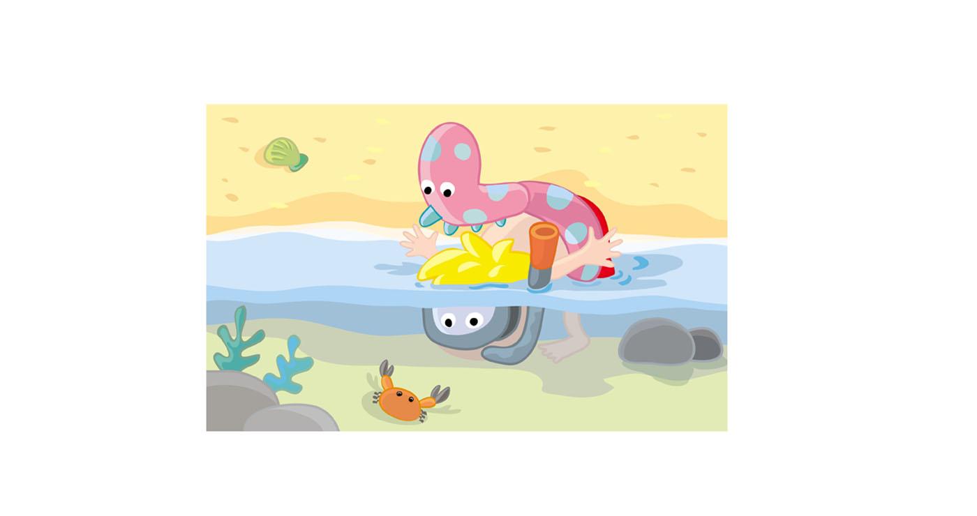 illustration vernius enfant plage