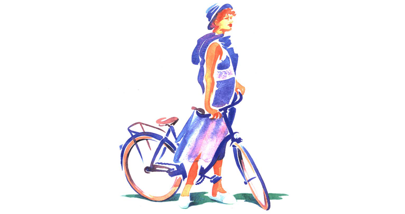 illustration-yves-perron-aquarelle-fille-a-velo