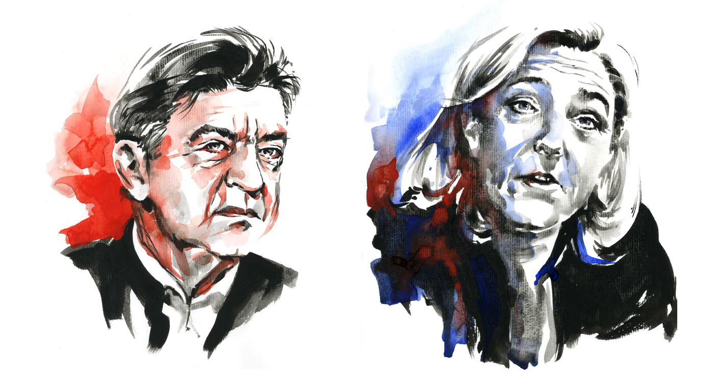 illustration-yves-perron-aquarelle-portrait-melenchon-lepen