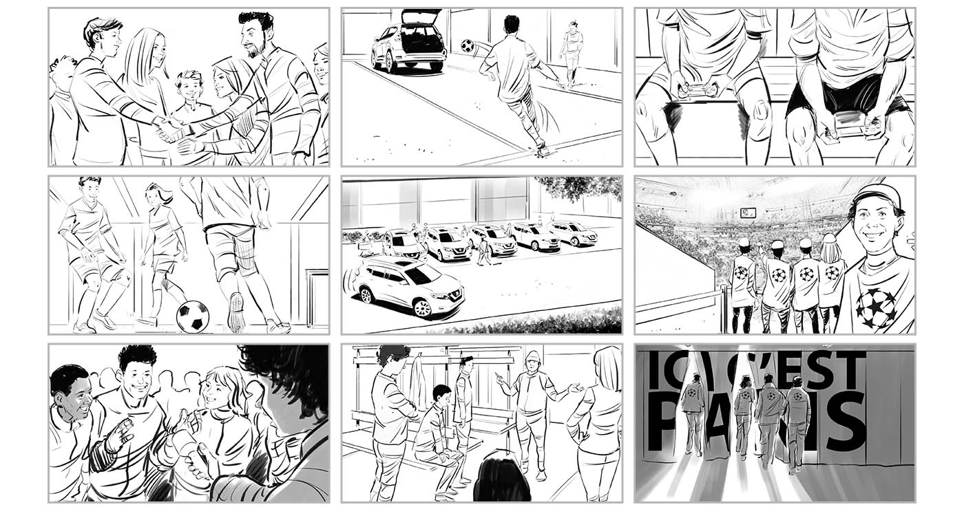 nicolas-gregoire-illustration-rough-story-board-animation-paper-art-voitures-NissanUEFA-lun-et-lautre.jpg