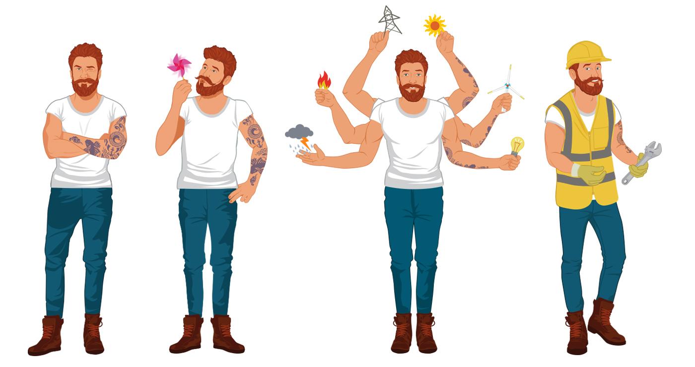 odeka illustration rough story board animation paper art mascotte rhone personnages lun et lautre