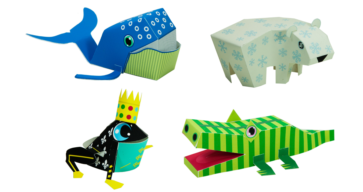 patrick-pasques-papertoys-ours-crocodile-baleine-grenouille