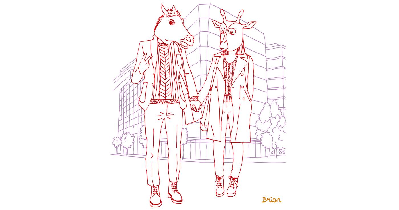 illustration trait personnage masque animaux