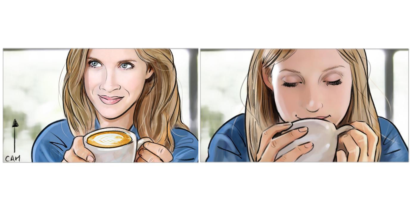 rough storyboard manuel fontegne femme café