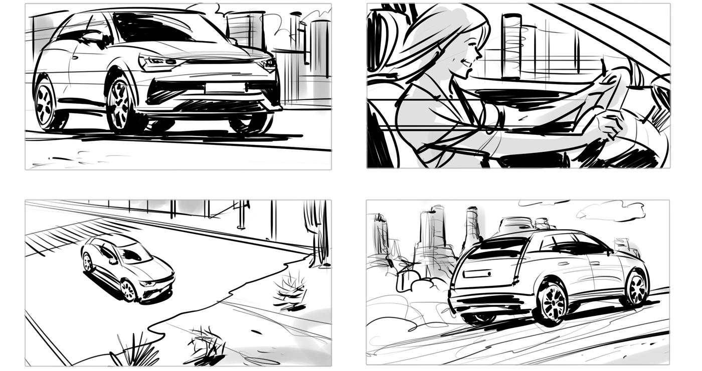 rough storyboard manuel fontegne voiture desert