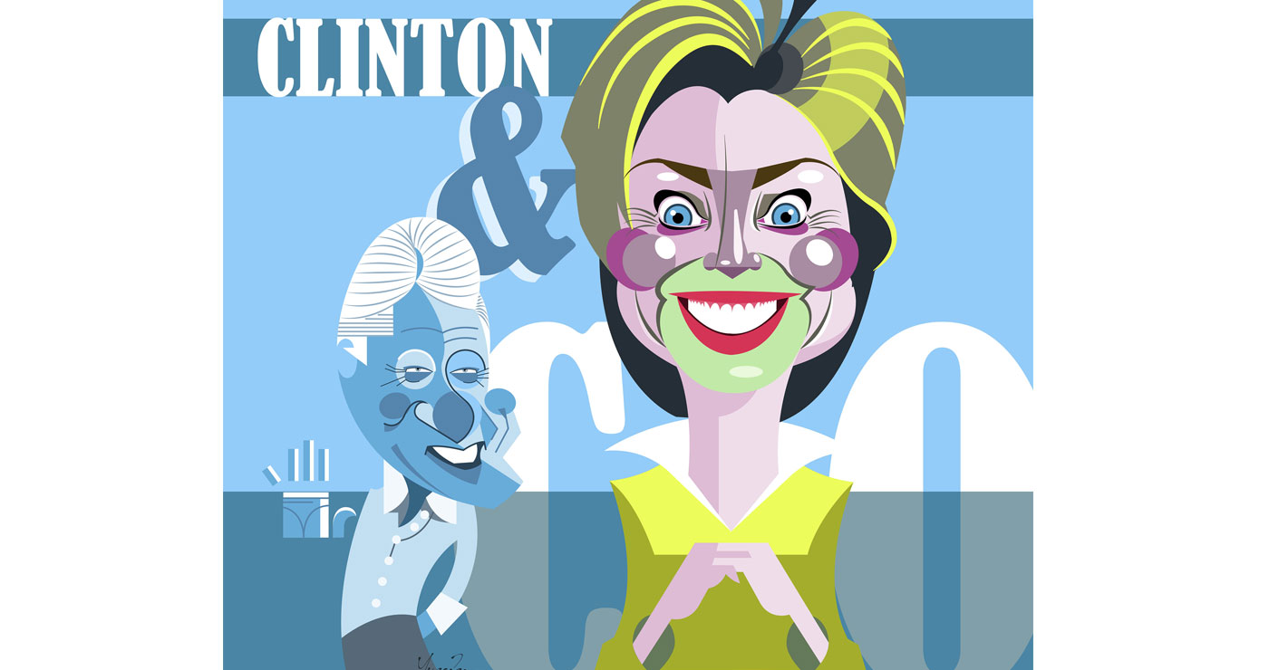 yves-perron-caricatures-clintons