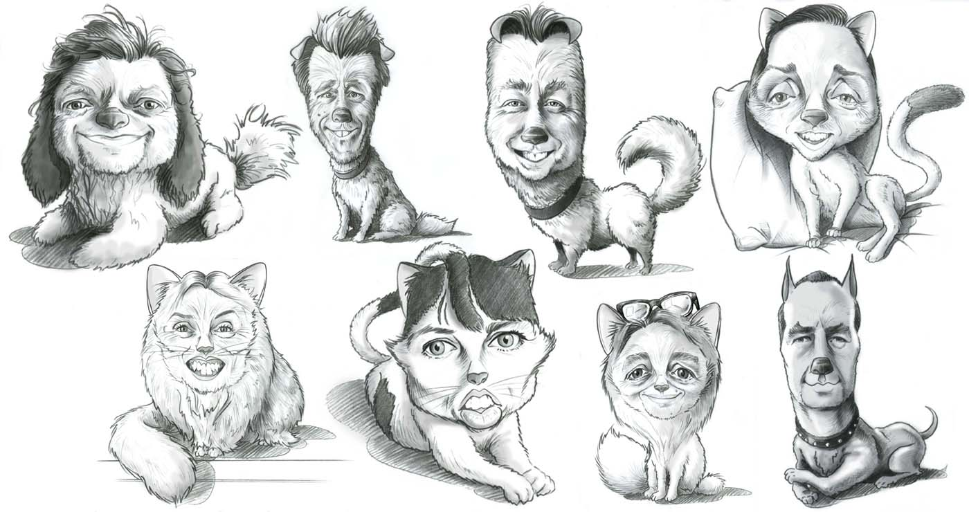 yves-perron-illustration-rough-story-board-animation-paper-art-caricature-portrait-animaux-lun-et-lautre